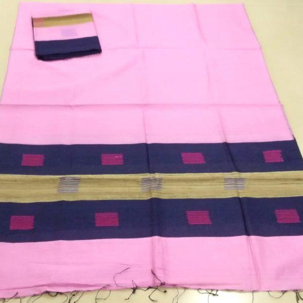 Semi Ghisa Mekhela Sador set in Light Pink colour having block prints